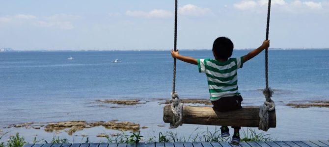 日間賀島はお盆休みでもそこまで人が多くなく、子供の海デビューにぴったし